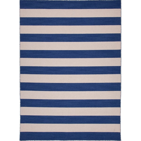 Handmade Flat Weave Stripe Pattern Blue Rug (4' x 6')