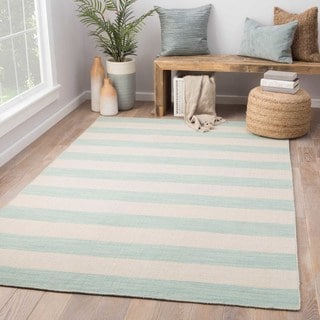 Rhodes Handmade Stripe Light Blue/ Cream Area Rug (5' X 8')
