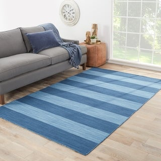 Handmade Flat Weave Stripe Pattern Blue Rug (8' x 10')