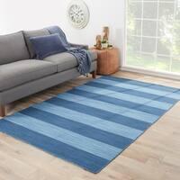 Mendocino Handmade Stripe Blue Area Rug (8' X 10') - 8' x 10'