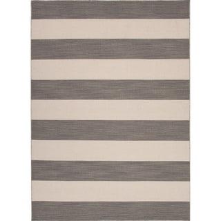 Handmade Flat Weave Stripe Pattern Gray/ Black Rug (8' x 10')