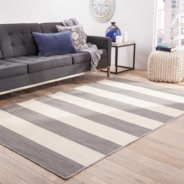 Shop Mendocino Handmade Stripe Gray White Area Rug 5 X