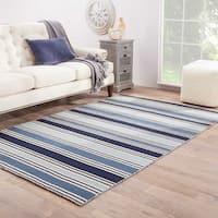 Lancaster Handmade Stripe Blue/ White Area Rug (5' X 8') - 5' x 8'