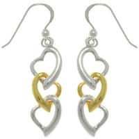 Sterling Silver Gold-plated Three Heart Earrings