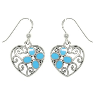 Carolina Glamour Collection Sterling Silver Filigree Heart with Turquoise Earrings