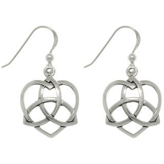 Carolina Glamour Collection Sterling Silver Celtic Trinity Heart Earrings