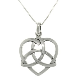 Sterling Silver Celtic Trinity Heart Necklace