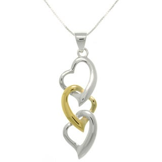 Carolina Glamour Collection Sterling Silver and Gold-plated Three Heart Necklace