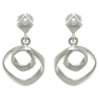 Carolina Glamour Collection Sterling Silver Free Form Circles Dangle Earrings