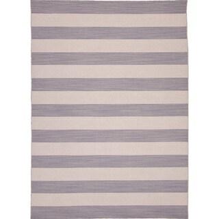 Handmade Flat Weave Stripe Pattern Grey Rug (9' x 12')