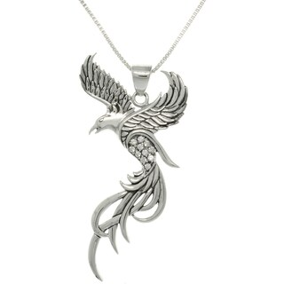 Sterling Silver and CZ Eagle Phoenix Pendant Necklace