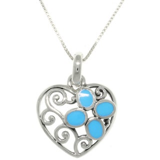 Carolina Glamour Collection Sterling Silver Filigree Heart Turquoise Pendant Necklace