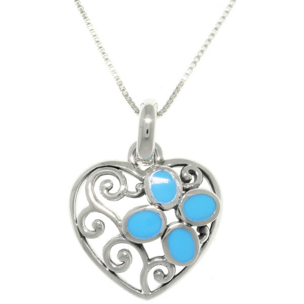 Sterling Silver Filigree Heart Turquoise Pendant Necklace