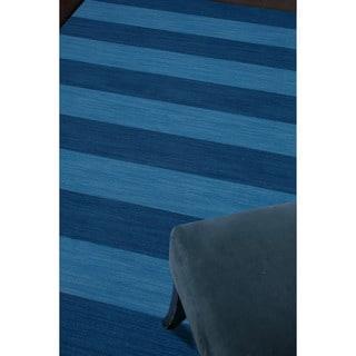Handmade Flat-weave Stripe-pattern Blue Wool Rug (9' x 12')