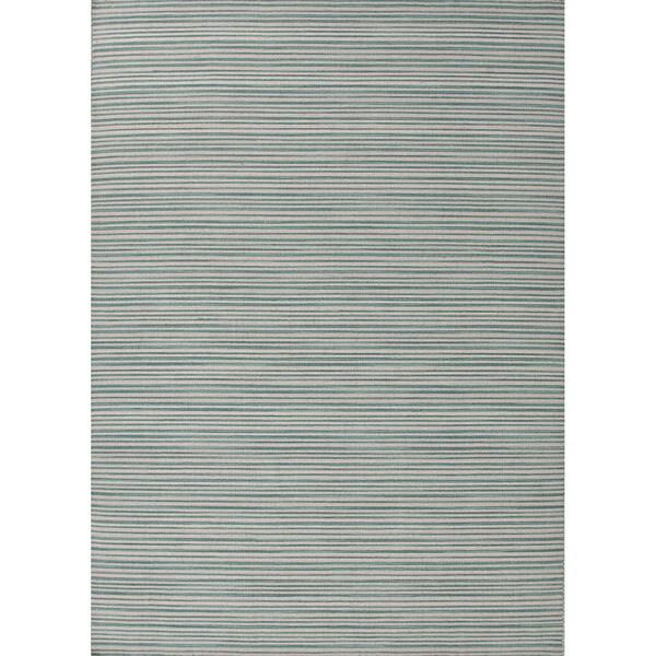 Handmade Flat-weave Slim-stripe-pattern Blue Rug (9' x 12')