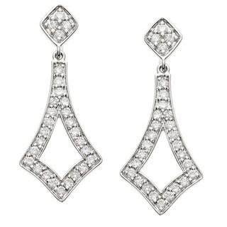 14k White Gold 5/8ct TDW Diamond Flame Dangle Earrings