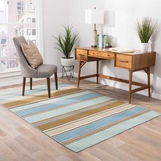 Handmade Flat-weave Stripe-pattern Blue-and-brown Rug (9' x 12')