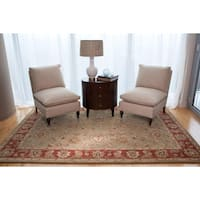 Della Handmade Floral Taupe/ Red Area Rug (9' X 12')