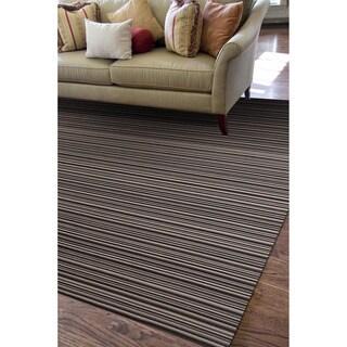 Handmade Flat Weave Stripe Pattern Gray/ Black Rug (9' x 12')