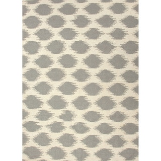 Handmade Flat Weave Tribal Pattern Grey/ White Rug (9' x 12')