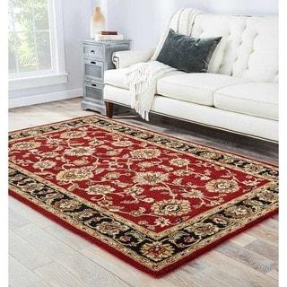 "Della Handmade Floral Red/ Black Area Rug (2'6"" X 4')"