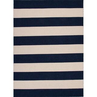Handmade Flat Weave Stripe Pattern Blue Rug (10' x 14')