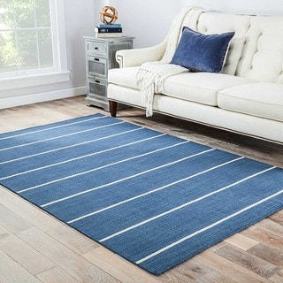Byron Handmade Stripe Blue/ Cream Area Rug (10' X 14') - 10' x 14'