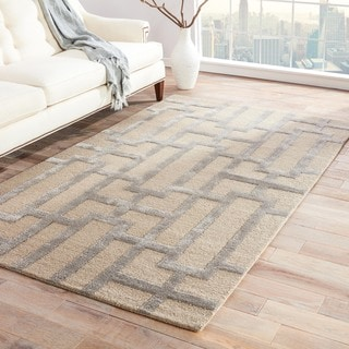 Hand-tufted Contemporary Geometric Pattern Ivory Rug (3'6 x 5'6)
