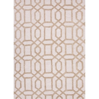 Hand-tufted Contemporary Geometric Trellis Pattern Brown Rug (5' x 8')