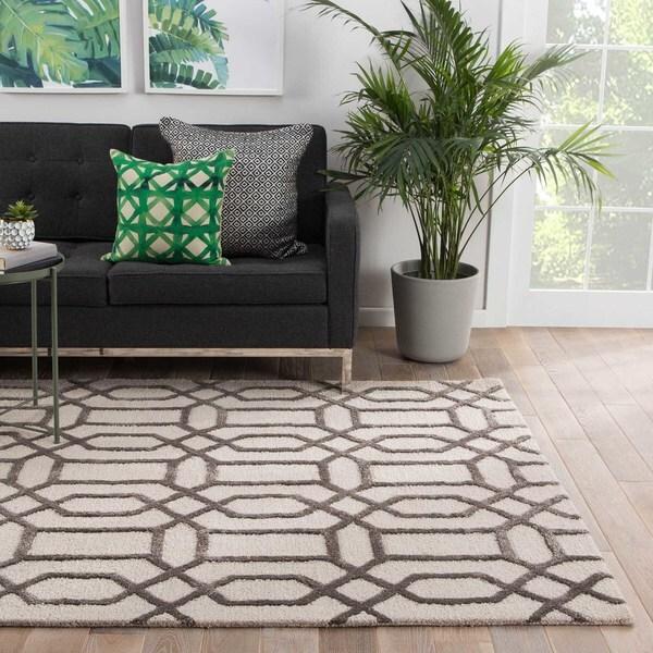 Camden Handmade Trellis White/ Dark Gray Area Rug (5' X 8') - 5' x 8'