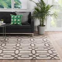 "Camden Handmade Trellis White/ Dark Gray Area Rug (3'6"" X 5'6"") - 3'6 x 5'6"