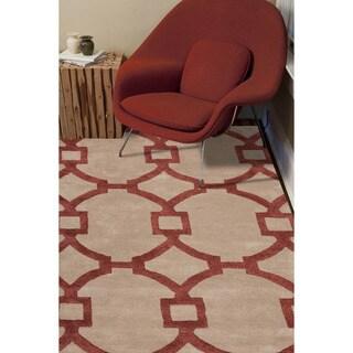 Hand-tufted Contemporary Geometric Red/ Orange Rug (3'6 x 5'6)