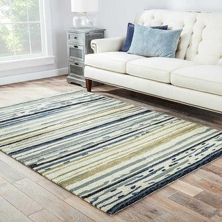 Hand-hooked Indoor/ Outdoor Abstract Blue/ black Rug (7'6 x 9'6)