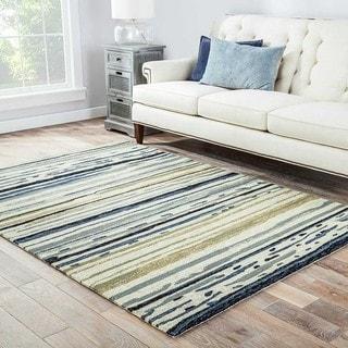 "Doppler Indoor/ Outdoor Abstract Silver/ Blue Area Rug (3'6"" X 5'6"")"
