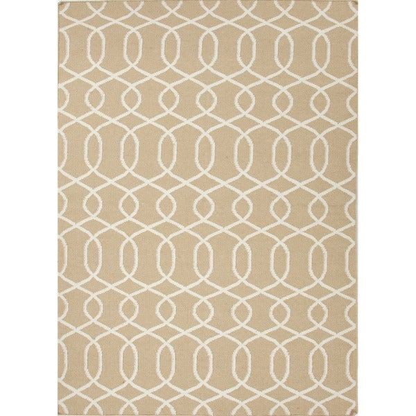 Handmade Flat Weave Geometric Pattern Brown Rug (9' x 12')