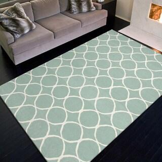 Handmade Flat Weave Geometric Pattern Blue Rug (9' x 12')