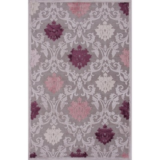 Transitional Floral Pattern Pink Purple Rug 2 X 3