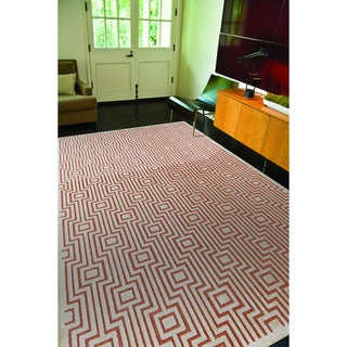 Contemporary Geometric Red/ Orange Rug (9' x 12')