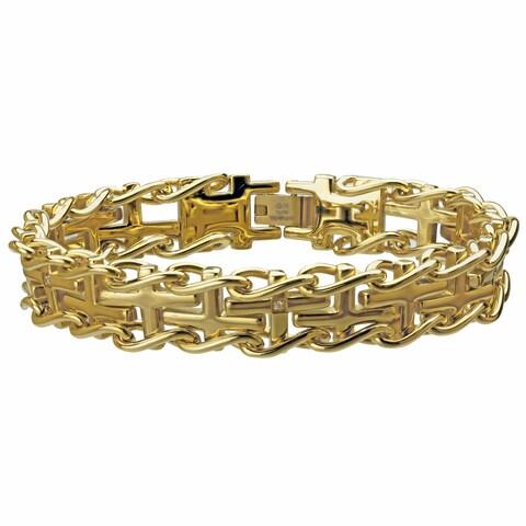 Gold Ion-plated Steel Men's Diamond Accent Cross Railroad Bracelet