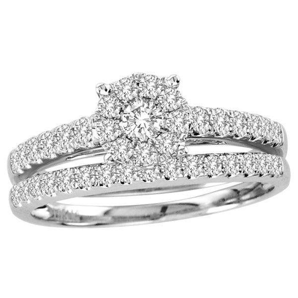 De Couer 10k Gold 1ct TDW Diamond Cushion Bridal Ring Set