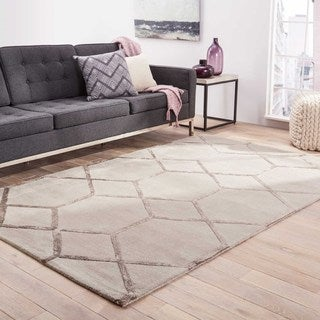 Hand-tufted Contemporary Geometric Grey/ black Rug (9'6 x 13'6)