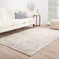 "Savoy Handmade Trellis Gray/ White Area Rug (9'6"" X 13'6"") - 9'6"" x 13'6"""