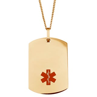 Engraved Gold Stainless Steel Medical Alert ID Dog Tag Necklace