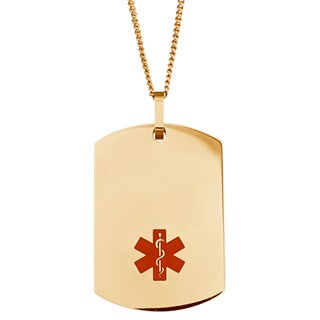 Engraved Gold Stainless Steel Medical Alert ID Dog Tag Necklace (More options available)