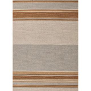 Handmade Flat Weave Stripe Pattern Grey/ Brown Rug (4' x 6')