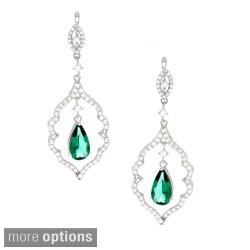 Sterling Silver Green or Blue Cubic Zirconia Dangle Earrings