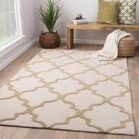 Portland Handmade Trellis White/ Tan Area Rug (8' X 11') - 8' x 11'