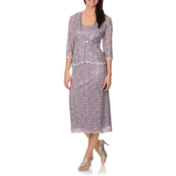 6c63a7ba6a0 Shop R   M Richards Women s Sequined Lace Jacket Dress - On Sale ...