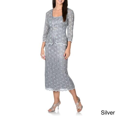 R & M Richards Women's Sequined Lace Jacket Dress