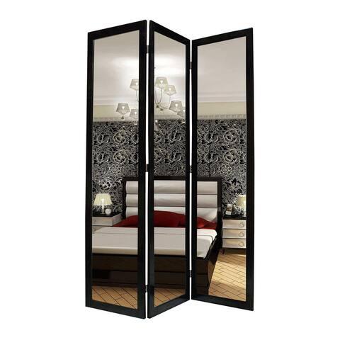 Handmade Black Mirror Wooden Screen